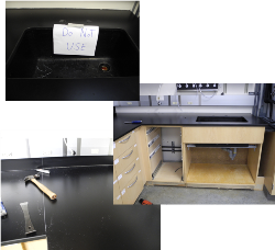 Removal of sink base and counter