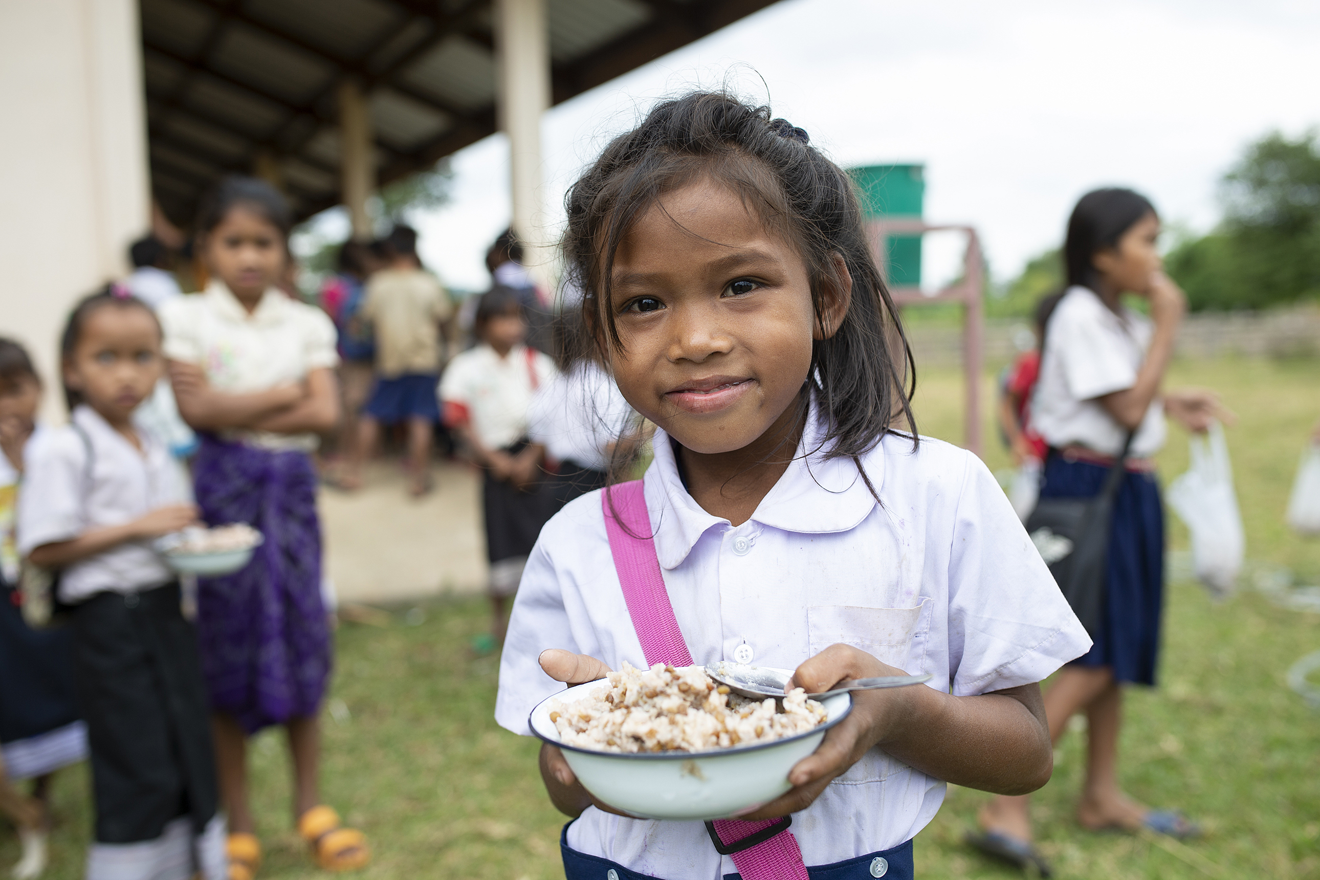 Children at school lunch in Laos